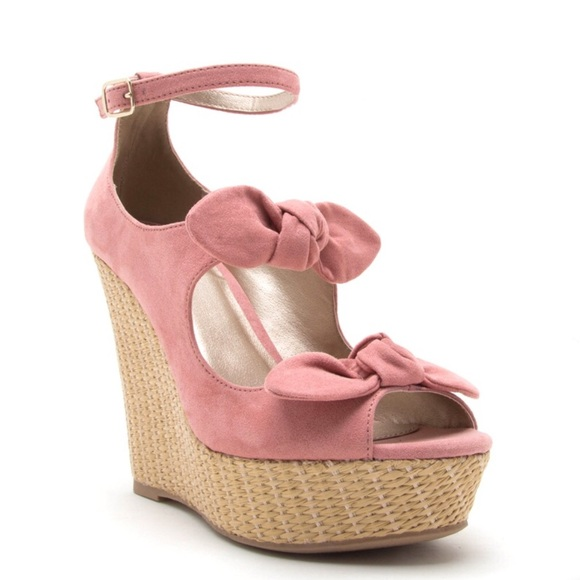 """1c5295d4d65 Pin-up pink 4"""" microsuede ankle strap bow wedge. Boutique. Qupid"""